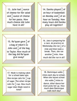 5.NF.1 and 2 Task Cards