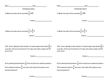 5.NF.2.4a Multiplying Fractions Quiz/Exit Ticket