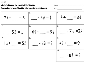 5.NF.2 Addition Subtraction Sentences With Mixed Numbers