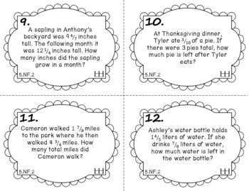 5.NF.2 Task Cards: Adding & Subtracting Fractions with Word Problems