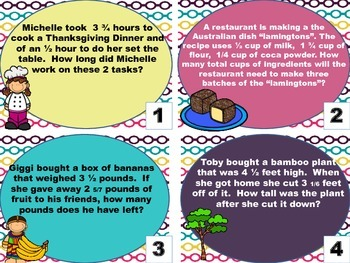 5.NF.2 task cards globally themed