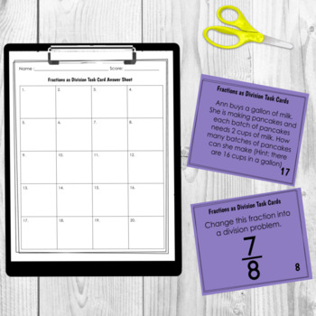 Fractions as Division Task Cards -  5.NF.3 CCSS