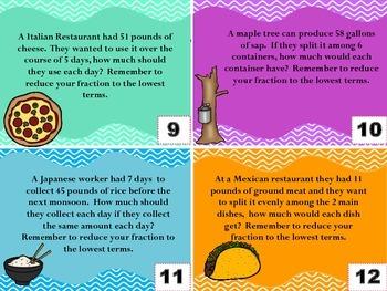 5.NF.3 Global Word Problem Task Cards