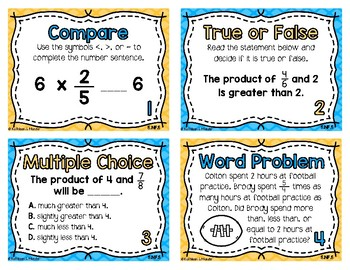 5.NF.5 Task Cards: Multiplication as Scaling {Fractions}