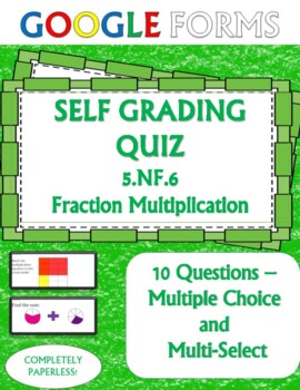 Multiplying Fractions 5.NF.6 Self Grading Assessment Google Forms