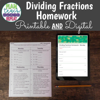 5.NF.7 (Dividing Fractions) Homework
