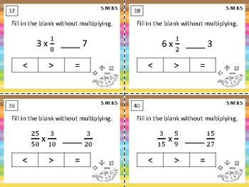 5.NF.B.5 Task Cards: Interpret multiplication as scaling (resizing)