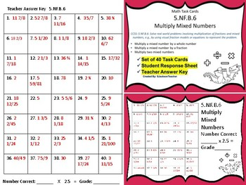 5.NF.B.6 Task Cards: Multiply Mixed Numbers
