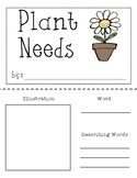 5 Needs of a Plant (Vocabulary Booklet)