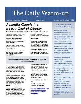 (5) News Article Warm-ups for EFL Students at 500-590L Level