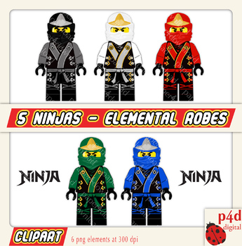 5 Ninja in Elemental Robes - Clipart - Digital Collage, PNG files