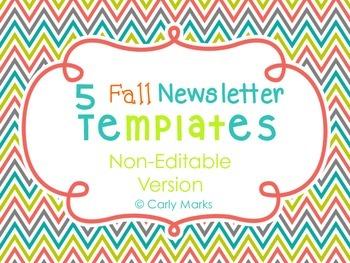 5 Non-Editable Fall Newsletter Templates