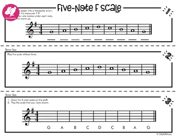 5-Note Concert F Scale Warm-Up: 3D Foldable for Beginning Band