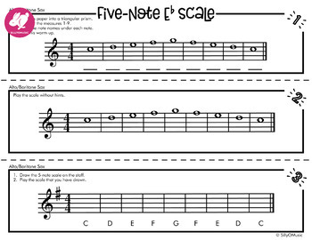 5-Note Scale | Concert Bb, F, & Eb Beginning Band Warm-Ups | 3 ways | BUNDLE