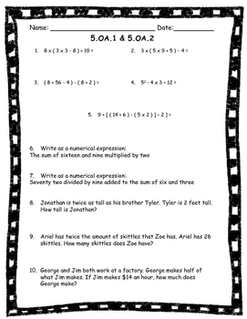 5.OA.1 & 5.OA.2 Worksheet (Order of Operations & Simple Expressions)