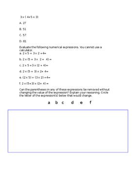 5.OA.1 Assessment