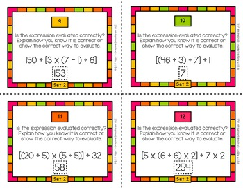 5.OA.1 Task Cards Order of Operations for Fifth Grade