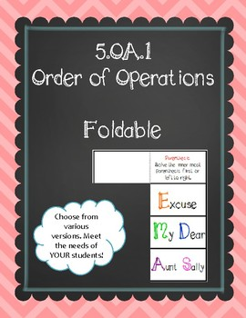 5.OA.1 (Order of Operations) Foldable