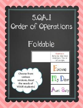 5.OA.1 (Order of Operations) Foldable
