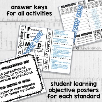 5OA1 Grouping Symbols & Order of Operations (Interactive Notebook Series)