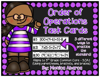 5.OA.1 - Order of Operations Task Cards