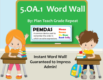 5.OA.1 (Order of Operations) Word Wall