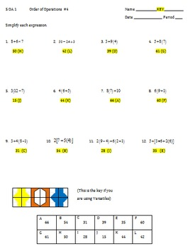 5.OA.1 Order of Operations Worksheet #4