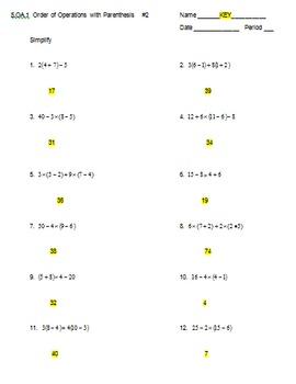 5.OA.1 Order of Operations with Parenthesis  #2