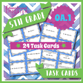 5.OA.1 Task Cards 5OA1 Order of Operations Task Cards Parentheses Brackets Brace