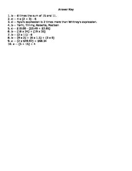 5.OA.2 Assessment