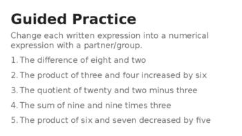5.OA.2 Last Minute 4 Day Lesson Plans! No Prep & No Copies