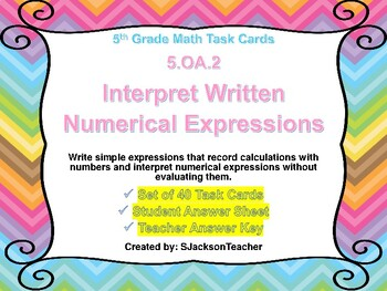 5.OA.2 Math Task Cards