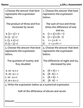 5.OA.2 (Numerical Expressions) Assessment
