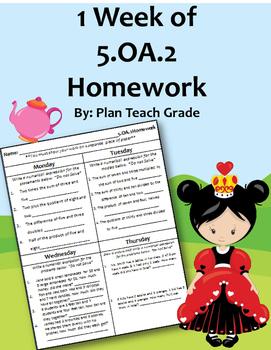 5.OA.2 (Numerical Expressions) Homework