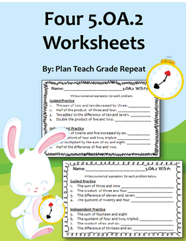5.OA.2 (Numerical Expressions) Worksheets