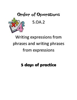 5.OA.2 Practice - Order of Operations
