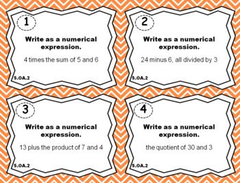 5.OA.2 Task Cards: Numerical Expressions Task Cards 5.OA.2 Centers