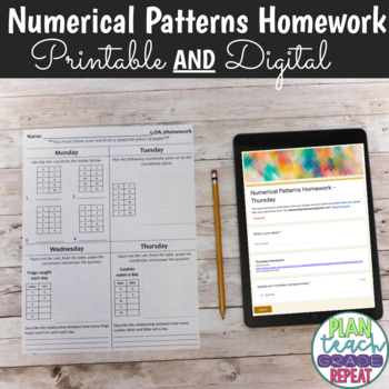 5.OA.3 (Numerical Patterns) Homework