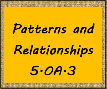 5.OA.3 Patterns and Relationships