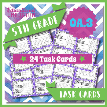 5.OA.3 Task Cards - Numerical Patterns, Ordered Pairs, & G