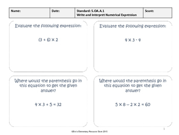 Order of Operations and Algebra 5.OA