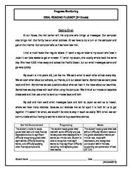5 Oral Reading Fluency Passage - 3rd Grade