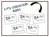 5 P's Classroom Rules Wall Display