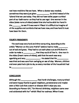 Essay My Family English  Paragraph Essay On The Frontier Homesteaders Essay Writing Examples English also Analysis Essay Thesis  Paragraph Essay On The Frontier Homesteaders By Cherrys  Tpt Good Health Essay