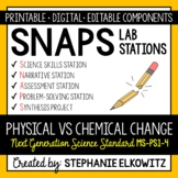 5-PS1-4 Physical vs. Chemical Change Lab Stations Activity