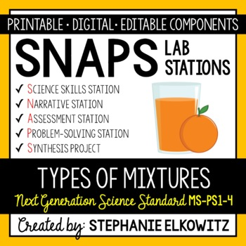5-PS1-4 Types of Mixtures Lab Stations Activity