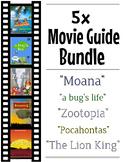 5 Pack Bundle - Disney Movie Guide Questions + Activities