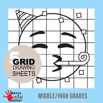 5 Pack Emoji Grid Drawing Worksheet for Middle/High Grades