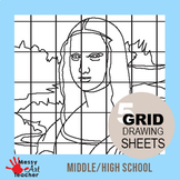 5 Pack Famous Art/Painting Grid Drawing Sheets for Middle/