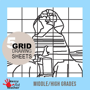 5 Pack Famous Sculptures Grid Drawing Worksheet for Middle/High Grades